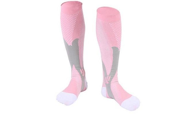 sport-compressie-sokken-roze